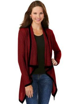 597a90174d4830 Cato Fashions Herringbone Waterfall Cardigan-Plus  CatoFashions Waterfall  Cardigan