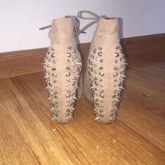 Nude studded booties with zipper Nude studded booties with zipper closure size six ️offers accepted not listed from brand only for exposure Steve Madden Shoes Lace Up Boots