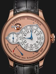FP Journe Chronometre Optimum Red Gold.  Patented Bi-axial escapement with High Performance EBHP (patent EP11405210.3) double wheels and direct pulses works without oil. The EBHP is the only exhaust with direct pulses starting alone.