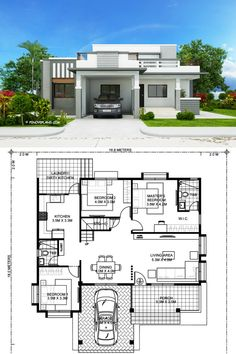 This four bedroom modern house design with roof deck has a total floor area of 177 square meters not including the roof deck. This design can fit in a lot with a total lot area of 300 square meters having at least meters lot frontage. Bungalow Floor Plans, Modern Bungalow House, Home Design Floor Plans, One Floor House Plans, Architect Design House, Duplex House Design, House Front Design, Home Architecture Design, House Outside Design