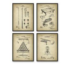 Billiards Patent Prints Set Of 4 Billiard by QuantumPrints