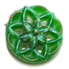 Vintage Pierced Green Glass Button - Small by KPHoppe on Etsy