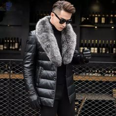 Men's Genuine Leather Jacket Thick Lambs Wool Jacket Male Fox Fur Collar Jaqueta Couro Masculino Plus Size Down Coat Price history. Fur Collar Coat, Fur Collars, Fur Fashion, Mens Fashion, Fashion Outfits, Style Fashion, Duck Down Jacket, Mens Fur, Mens Clothing Styles