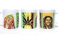 WRAP AROUND MUG - Bob marley art, reggae style, psychadelic art, 420 friendly, stoner gifts, rastafarian, personalized mug, hippie girl, pot head