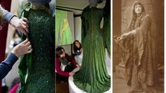 """THE ARCHAEOLOGY OF A DRESS  Restored dress as worn by Ellen Terry in her 1888 portayal of Lady Macbeth.  """"When Ellen starred alongside Henry Irving in Macbeth in 1888, there was not a wide choice of fabrics available in England, and Alice could not find the colours she wanted to achieve her effects. She wanted one dress to 'look as much like soft chain armour as I could, and yet have something that would give the appearance of the scales of a serpent.' (Mrs. J. Comyns Carr's 'Reminiscences'…"""