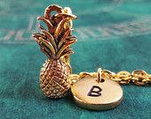 Pineapple Necklace, SMALL Gold Pineapple, Personalized Necklace, Pendant Necklace, Fruit Necklace, Engraved Necklace Gold Tropical Necklace
