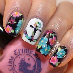 Floral Anchor Nails