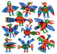 BIRDS. A three colour linocut by  BERNARD LODGE