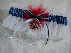 Naval Camo garter with fire department charm. White organza is the perfect background for these beautiful colors.