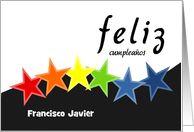 Tarjetas espanolas spanish cards. Happy birthday with colourful stars. Feliz cumpleanos
