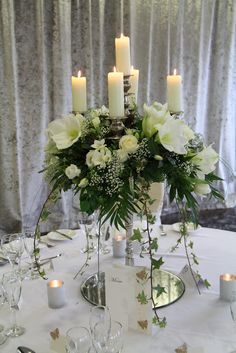 All white baroque candelabra