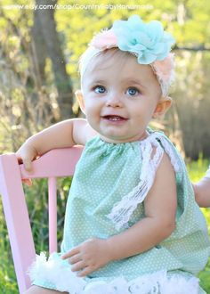 Pillow Case Dress in dots with Shabby Rose Trim and Lace Tie by CountryBabyHandmade, $16.49