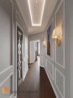 Photo: Hall interior design - Interior of a three-room apartment of 96 sq. in the Privilege residential complex, neo-classic style - Condo kitchen Hall Interior Design, Interior Architecture, Interior Photo, Dream Home Design, House Design, American Style House, Modern Hallway, Plafond Design, Home Ceiling