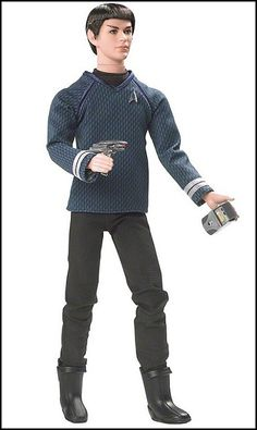 Star Trek 2009 Doll  Mr. Spock    The latest Star Trek Movie centers on the early years of Enterprise and its officers. Barbie's Pop Culture Collection features excellent likenesses of Chris Pine (Kirk), Zachary Quinto (Spock), and Zoe Saldana (Uhura). Accessories include a phaser and communicator. For additional Movie information, check out http://www.startrekmovie.com    Your Price: $24.99