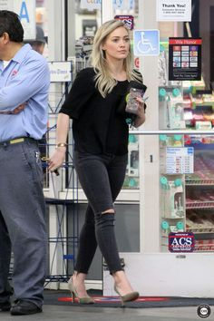 Hilary Duff - At a gas station in Beverly Hills 12/22/2014