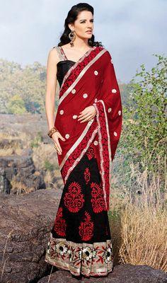 Red and Black Bhagalpuri Silk Half N Half Saree Price: Usa Dollar $94, British UK Pound £55, Euro70, Canada CA$102 , Indian Rs5076.