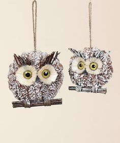 Take a look at this Pinecone Owl Ornament Set by Transpac Imports on #zulily today!