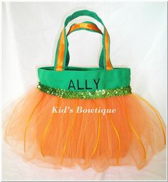 Make a cute matching bag for costume - add tulle and ribbon or could deco a bucket with same idea :)