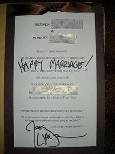 Couple sends their wedding invitation to Joss Wedon and he sends it back signed :)