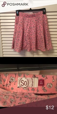 BARGAIN BUNDLE!!! 2 Cute SO Junior Medium Skirts! EUC - Bargain Bundle includes a coral junior skirt with white flowers and navy with royal blue polka dots. Worn maybe once each. Smoke free home. Lowest price on this item. Best price/value in bundles - I offer 15% off for 3+ items. Thanks for looking! SO Skirts