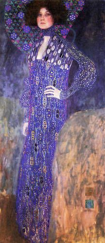 Gustav Klimt:  Portrait of Emilie Floge. Klimt could be a great historical 'anchor' artist to your contemporary illustrative models.