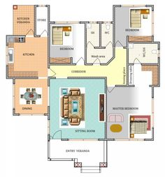 House Plan ID-16443, 3 bedrooms with 3401+1691 bricks and 131 corrugates Cheap House Plans, Affordable House Plans, Free House Plans, Porch House Plans, 3 Bedroom Bungalow, Three Bedroom House, Bungalow House Design, Bedroom House Plans, Drawing House Plans