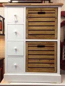 £195.00 fourwhite draws two wooden draws chest.