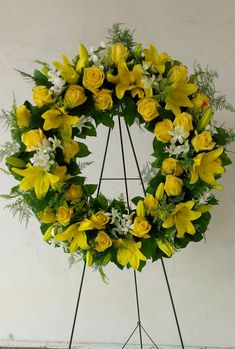 Yellow funeral wreath with roses, lilies and dendrobium orchids. – Four Seasons Sympathy Flowers – Wreaths Casket Flowers, Grave Flowers, Cemetery Flowers, Funeral Bouquet, Funeral Flowers, Funeral Floral Arrangements, Orchid Arrangements, Funeral Sprays, Corona Floral