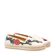 embroidered leather espadrille | gucci