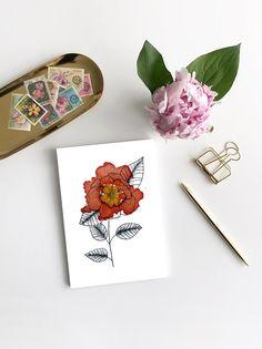 Line Drawing Watercolors Flowers Postcard Mini Picture Bouqets, My Flower, Line Drawing, Watercolor Flowers, Mini, Poster, Greeting Cards, Etsy, Drawings