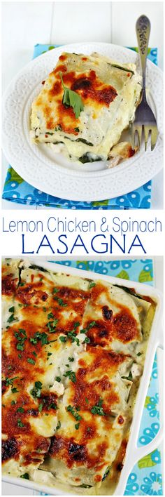 Layers of gooey cheese with a creamy chicken & spinach lemon sauce. Comforting and delicious!