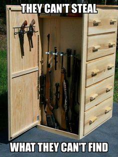 Save those thumbs #WoodProjectsForDogs Hidden Gun Storage, Weapon Storage, Secret Storage, Hidden Gun Safe, Hidden Gun Cabinets, Storage Cabinets, Craft Room Storage, Kitchen Storage, Furniture Plans
