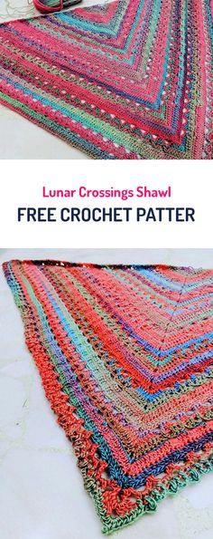 Lunar Crossings Shawl Free Crochet Pattern #crochet #yarn #shawl #fashion #style