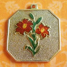 Vintage Enamel Tiger Lily Flowers 14k Gold Charm