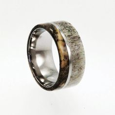 Mens Wedding Band / Titanium ring inlaid with Buckeye Burl Wood and Deer Antler