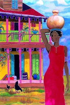 Red Dress Caribbean Artwork: Beach Decor, Coastal Home Decor, Nautical Decor, Tropical Island Decor & Beach Cottage Furnishings