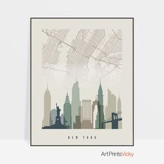 Map of New York City New York map print poster New York skyline Office Decor Wall art Travel Gift Home Decor ArtPrintsVicky by ArtPrintsVicky Canvas Wall Art, Wall Art Prints, Fine Art Prints, Framed Prints, Poster Prints, Canvas Prints, New York City Map, Travel Gifts