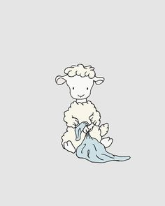 Lamb Nursery Art -- Lamb with Blanket -- Boy Nursery Decor -- Lamb Art -- Sheep Nursery Art, Children Art Print, Kids Wall Art Sheep Nursery, Lamb Nursery, Nursery Art, Nursery Decor, Sheep Cartoon, Scrapbooking Image, Art Wall Kids, Wall Art, Comics