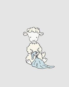 Lamb Nursery Art -- Lamb with Blanket -- Boy Nursery Decor -- Lamb Art -- Sheep Nursery Art, Children Art Print, Kids Wall Art
