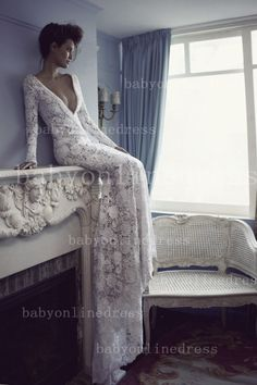 $230--Amazing Wedding Dresses Sexy Lace Long Sleeves V Neck Beaded Crystal with Jewles from Babyonlinedress.com