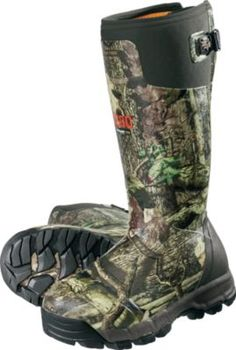 "For those women hunters who need serious waterproof, scent controlling rubber boots look no further than the AlphaBurly Pro Women's from LaCrosse.  Average weight:  4.4 lbs./pair.  Height:  15"".  Women's whole sizes:  6-10.  Camo pattern:  Mossy Oak® Break-Up Infinity®."