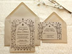 Once Upon a Time Kraft Garden Wedding Invitations by merrymint