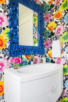 Alyssa Rosenheck - Emily Lister Interiors - Contemporary powder room features walls clad in bright, colorful floral wallpaper lined with a glossy blue baroque mirror over a white lacquered curved floating vanity fitted with a large oval shallow sink. Powder Room Wallpaper, Bathroom Wallpaper, Boho Bathroom, Bathroom Colors, Bathroom Ideas, Colorful Bathroom, Pink Bathrooms, Bathroom Stand, Bathroom Remodeling