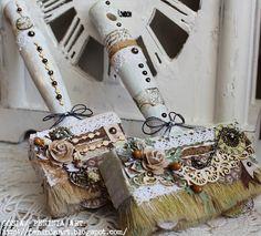 Altered paint brushes by Gosia Jonaszek. Alterowane pędzle od Gosi Jonaszek.