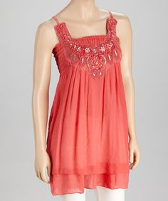 Take a look at this SR Fashions Coral Pearl & Sequin Tunic on zulily today!