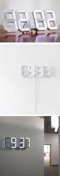 Digital LED Clock White by KIBARDINDESIGN // very. very. cool. #productdesign #lightingdesign