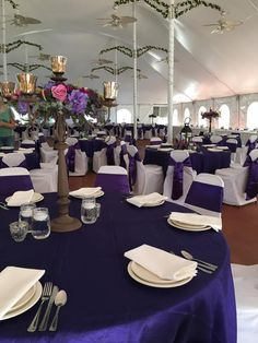 Royal blue satin wedding at Countryside tent.