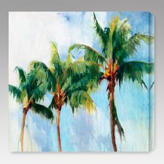 Three Palms Indoor/Outdoor Canvas Print by Allyson Krowitz