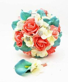 Glamorous rhinestones and brooches with coral, aqua and ivory blooms are a gorgeous pairing in this lush and lovely silk flower bridal bouquet with matching groom's boutonniere. This bouquet can be yo Coral Wedding Flowers, Beach Wedding Bouquets, Winter Wedding Flowers, Silk Flowers, Silk Hydrangea, Wedding Colors, Blue Wedding, Dream Wedding, Beach Weddings