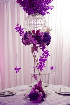 Crystal Stand with fresh flowers